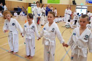 young kids doing TKD